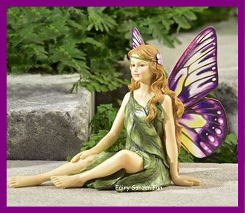Fairy Garden  Butterfly Winged Fairy Figurine Blonde With Yellow & Purple Wings - Fairy Garden Fun
