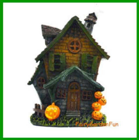 Fairy Garden  Halloween House Pumpkins and Ghost With Witch On Broomstick DA - Fairy Garden Fun
