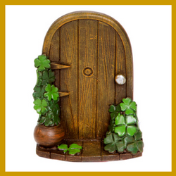 Fairy Garden  Luck Of The Irish Fairy Door with Four Leaf Clover D868 - Fairy Garden Fun