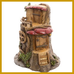 Fairy Garden  Tree Stump House w/Mushroom Awnings & Balcony - Fairy Garden Fun