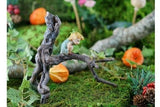 Fairy Garden  Garden Sprite with Tree Frog on Branch - Fairy Garden Fun