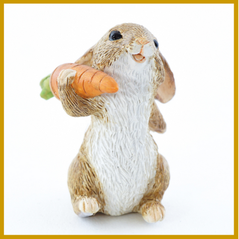 Fairy Garden  Adorable Bunny Rabbit With Carrot 4645 - Fairy Garden Fun