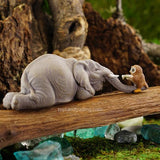 Fairy Garden  Elephant Reading A Book with An Owl 4566 - Fairy Garden Fun