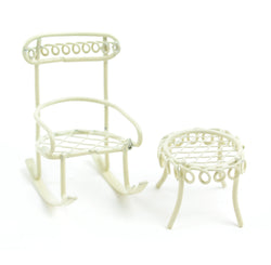 Fairy Garden  Micro Mini Garden Rocking Chair with Table Cream - Fairy Garden Fun