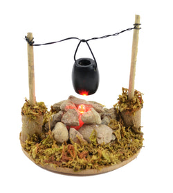 Fairy Garden  Miniature Garden Fire Pit with Cooking Pot ~ LED Lighted! - Fairy Garden Fun
