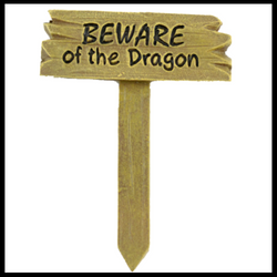 Fairy Garden  Beware Of Dragon Sign - Fairy Garden Fun