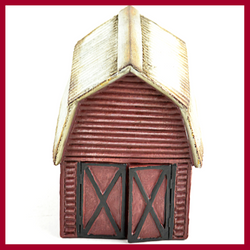 Red Barn with Silver Roof Fairy House