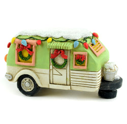 Fairy Garden  Christmas Green Camper LED Lighted - Fairy Garden Fun