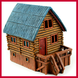 LED Lighted Log Cabin Fairy House