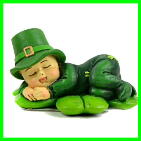 Lucky Irish Leprechaun Fairy Boy Sleeping On Shamrock