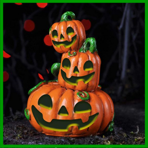 Fairy Garden  LED Lighted Pumpkin Stack Stake - Fairy Garden Fun