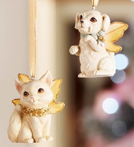 Fairy Garden  Christmas Fairy Dog & Cat Ornament Set of 2 GC088 - Fairy Garden Fun