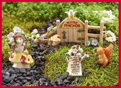 Fairy Garden  Friends Garden with Hedgehog and Squirrel 4pc. Boxed Set GC307 - Fairy Garden Fun