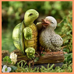 Fairy Garden  Animal Sentiment Duck & Turtle Odd Couple - Fairy Garden Fun