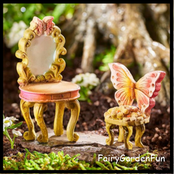 Fairy Garden  Classic Fairies Vanity and Chair Set - Fairy Garden Fun