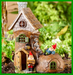 "Fairy Garden Miniature Dollhouse Shoe With Gnomes House Mini Garden Solar Powered Shoe House Design Figurine. Design features a tall brown boot design house with vaulted roof, black detailing, and two gnome accents with white beards and red pointy hats.  Solar powered light features. Solar Powered Lights hold an average 8 hour charge. 1*AA Battery, not included.  Size: 8.3"" x 4.7"" x 10.4"" Materials: Resin"