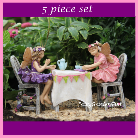 Fairy Garden  Afternoon Tea 5 Piece Fairy Set - Fairy Garden Fun