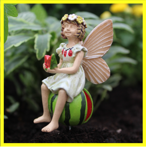 Fairy Garden  Fairy Leah Eating Watermelon - Fairy Garden Fun