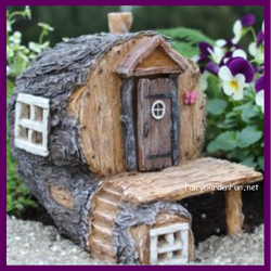 Fairy Garden  Hidden Hollow Log Fairy House 1661 - Fairy Garden Fun