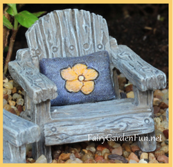 Fairy Garden  Itty Bitty Fairy Chair with Blue Pillow 1206 - Fairy Garden Fun