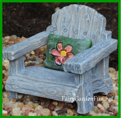 Fairy Garden  Itty Bitty Fairy Chair with Green Pillow 1206 - Fairy Garden Fun