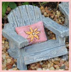 Fairy Garden  Itty Bitty Fairy Chair with Pink Pillow - Fairy Garden Fun