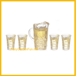 Fairy Garden  Miniature Lemonade Pitcher and Set of 4 Glasses A0167 - Fairy Garden Fun