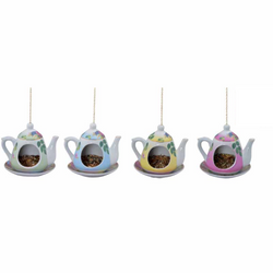 Fairy Garden  Hanging Teapot With Opening - Fairy Garden Fun