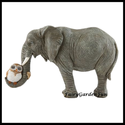 Fairy Garden  Elephant Hugging An Owl 4628 - Fairy Garden Fun