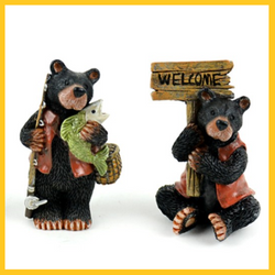 Fairy Garden  Fishing Bears With Welcome Sign - Fairy Garden Fun