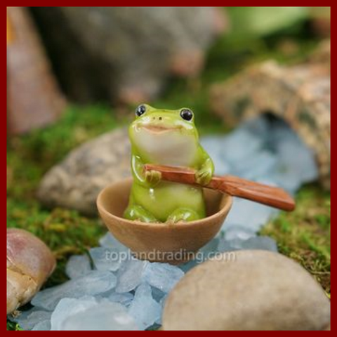 Fairy Garden  Frog Rowing A Boat 4512 - Fairy Garden Fun