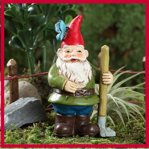 Fairy Garden  Gnorman Butterfly Raking Garden Gnome w Pick - Fairy Garden Fun