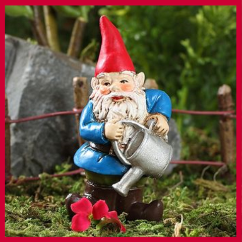 Fairy Garden  Brolan The Watering Can Garden Gnome w Pick - Fairy Garden Fun