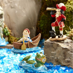 Fairy Garden  Peter Pan Neverland Captain Hook Pirate Smee & Gator Set GC319 - Fairy Garden Fun