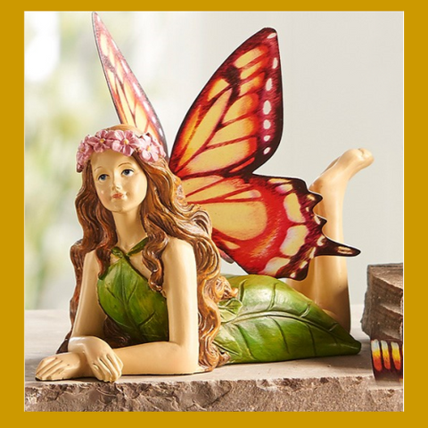 Fairy Garden  Butterfly Winged Fairy Laying 565 - Fairy Garden Fun