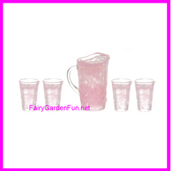 Fairy Garden  Miniature PINK Lemonade Pitcher and Set of 4 Glasses A0168 - Fairy Garden Fun
