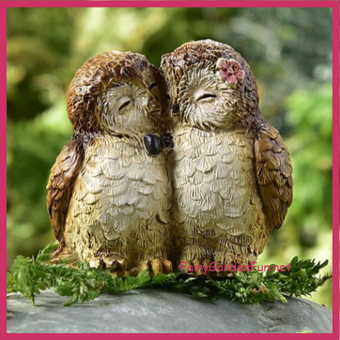 Fairy Garden  Animal Sentiment Owl Couple - Fairy Garden Fun