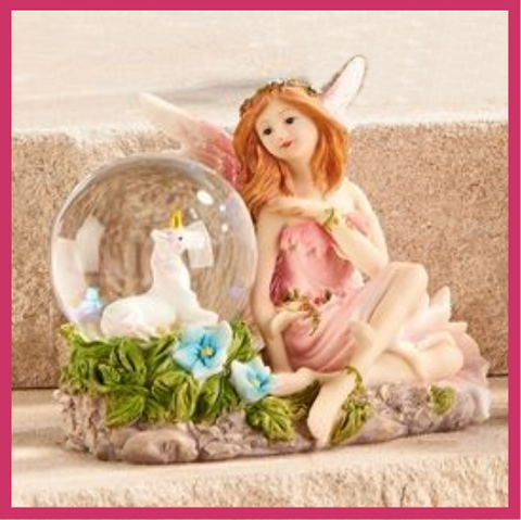 Fairy Garden  Enchanted Fairy With Unicorn Snow Globe Pink - Fairy Garden Fun
