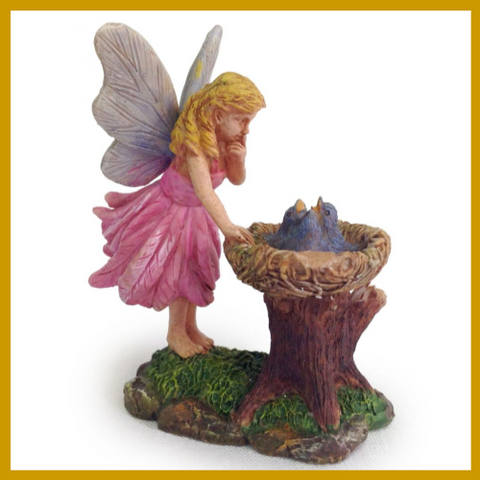 Fairy Garden  Pink Fairy With Bluebird Nest - Fairy Garden Fun