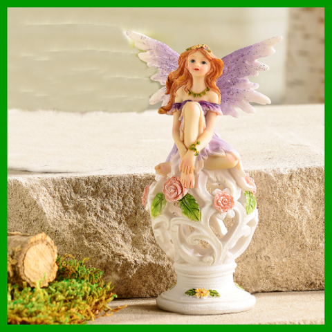 Fairy Garden  Fairy On Filigree Ball Purple 385 - Fairy Garden Fun