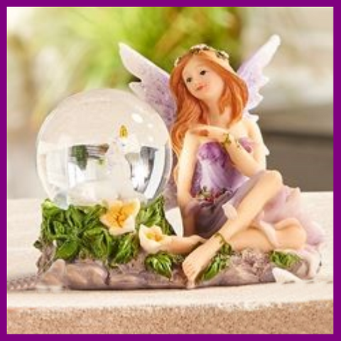 Fairy Garden  Enchanted Fairy With Unicorn Snow Globe Purple - Fairy Garden Fun