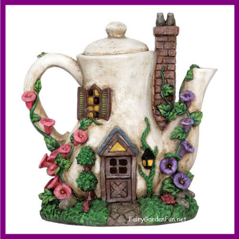 Fairy Garden  Lighted Coffee Pot Fairy House 424 - Fairy Garden Fun