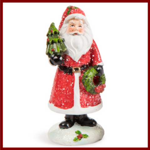 Fairy Garden  Glitter Santa With Tree and Wreath - Fairy Garden Fun