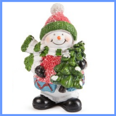 Fairy Garden  Glitter Snowman With Tree - Fairy Garden Fun