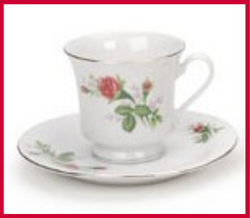 Fairy Garden  Gold Trim Floral Tea Cup - Floral Buds - Fairy Garden Fun