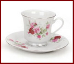 Fairy Garden  Gold Trim Floral Tea Cup - Roses - Fairy Garden Fun