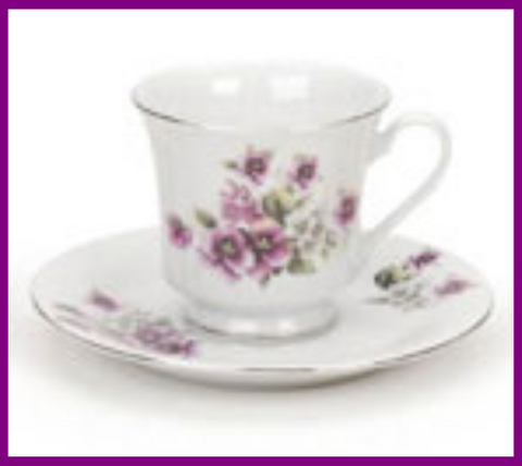 Fairy Garden  Gold Trim Floral Tea Cup - Violet - Fairy Garden Fun