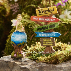 Fairy Garden  Peter Pan Neverland Tinkerbell & Sign Set GC316 - Fairy Garden Fun
