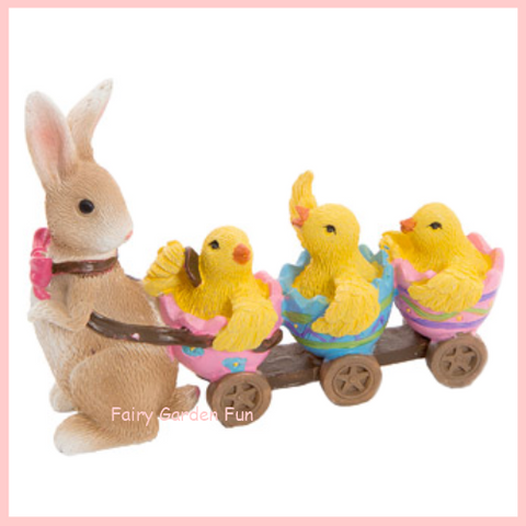Fairy Garden  Easter Parade Rabbit Chicks Eggs  D575BR - Fairy Garden Fun