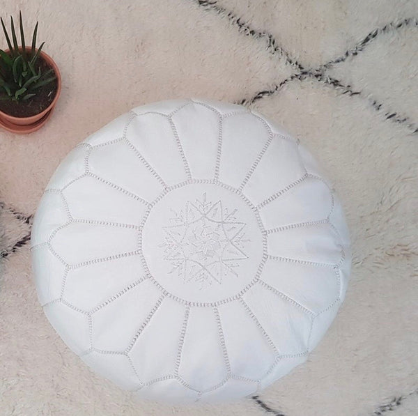Moroccan Leather Pouf| White